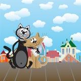 Dois gatos dos amantes Imagens de Stock