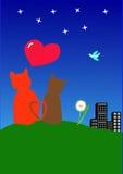 Dois gatos e corações Fotos de Stock Royalty Free