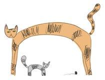 Dois gatos em desenhos das crianças ilustração stock