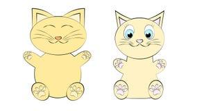 Dois gatos marrons gordos macios amáveis bonitos bonitos, gatinhos, um menino e uma menina, uma fêmea e um homem com caras e pés  ilustração stock