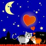 Dois gatos no amor ilustração do vetor
