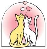 Dois gatos no amor. Vetor. Foto de Stock Royalty Free