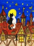 Dois gatos no telhado ilustração do vetor