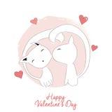 Dois gatos que beijam, o dia de Valentim feliz Foto de Stock