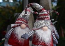 Dois gnomos do Natal que olham como pescas à corrica em Florida imagem de stock royalty free