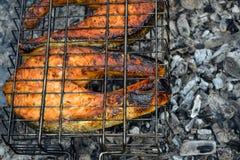 Dois grelharam os bifes salmon Carvões que uma parte de posta apetitosa cozeu nos carvões foto de stock