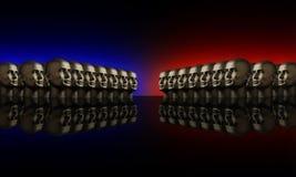 Dois grupos de mannaquin dirigem o vermelho e o azul Imagens de Stock Royalty Free
