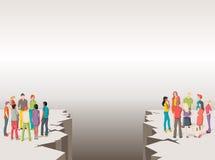 Dois grupos de pessoas separados por assoalho rachado ilustração royalty free