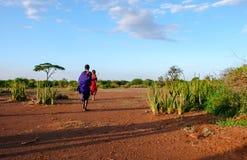 Dois guerreiros masculinos novos do Masai no savana de Tanzânia foto de stock royalty free