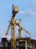 Dois guindastes de torre Foto de Stock Royalty Free