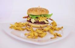 Dois Hamburger e fritadas no lado foto de stock royalty free