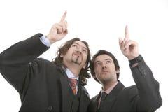 Dois homens apontam o dedo Fotos de Stock