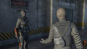 Dois homens armados em ternos militares falam entre si ilustração royalty free