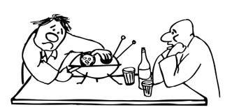 Dois homens bêbados abrem uns pires de voo que pensam que é uma ostra fotografia de stock