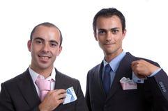 Dois homens de negócio com dinheiro Fotografia de Stock