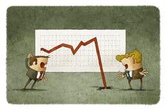 Dois homens de negócios chocados sobre o gráfico de feltro ilustração royalty free