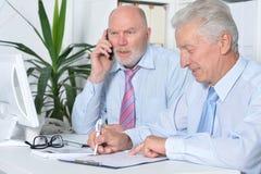 Dois homens de negócios com um portátil Foto de Stock Royalty Free