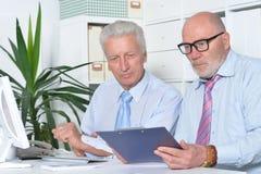 Dois homens de negócios com um portátil Fotos de Stock Royalty Free