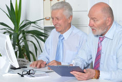 Dois homens de negócios com um portátil Imagens de Stock Royalty Free