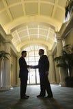 Dois homens de negócios que agitam as mãos. fotografia de stock royalty free