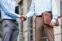 Dois homens de negócios que agitam as mãos Imagens de Stock