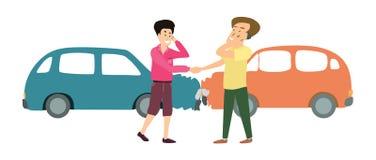 Dois homens de sorriso com acidente de dois carros Ilustração dos desenhos animados Imagens de Stock