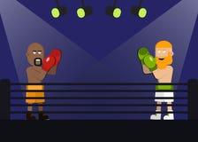 Dois homens estão encaixotando luta que enfrenta-se no fósforo Pugilista no short amarelo e o pugilista na calças branca com barb Imagem de Stock