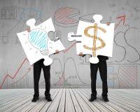 Dois homens que conectam enigmas para a ideia são conceito do dinheiro ilustração do vetor