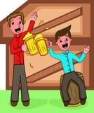 Dois homens que têm desenhos animados da cerveja ilustração royalty free