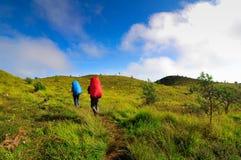 Dois homens que trekking na montanha de Prau, Dieng, Indonésia imagens de stock