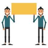 Dois indivíduos novos que guardam um sinal Molde para seu projeto Vetor Imagens de Stock