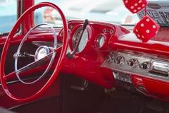 Dois interior vermelho de Chevy da porta 57 Fotografia de Stock Royalty Free