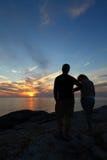 Dois investigadores do por do sol Foto de Stock Royalty Free