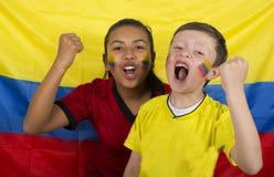 Dois irmãos com a bandeira imagens de stock