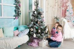 Dois irmãos em decorações de um Natal Fotografia de Stock Royalty Free