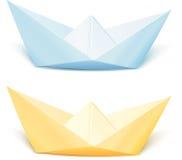 Dois isolaram navios do papel do vetor Foto de Stock Royalty Free