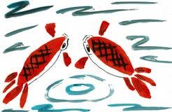 Dois japoneses Koi Fish em uma lagoa Foto de Stock