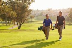 Dois jogadores de golfe masculinos que andam ao longo dos sacos levando do fairway Fotos de Stock