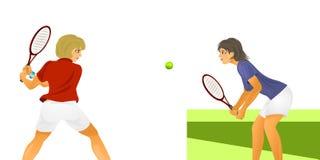 Dois jogadores de tênis das mulheres Foto de Stock