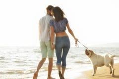 Dois jovens que correm na praia que beija e que guarda firmemente com cão Fotografia de Stock Royalty Free