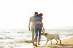 Dois jovens que correm na praia que beija e que guarda firmemente com cão Fotos de Stock Royalty Free