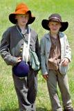 """Dois jovens Reenactors no """"Battle do  de Liberty†- Bedford, Virgínia Imagem de Stock"""
