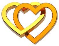 Dois juntaram-se aos corações do ouro isolados no branco Imagem de Stock Royalty Free