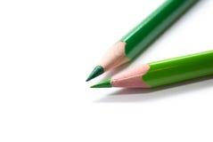 Dois lápis verdes Fotografia de Stock