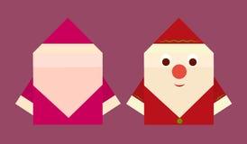 Dois lados de um papel Santa Claus ilustração royalty free