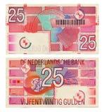 Dinheiro holandês interrompido - Gulden 25 Foto de Stock Royalty Free
