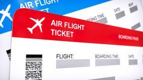 Dois linha aérea, bilhetes de trajetória aérea Passagem de embarque vermelha e azul, fim acima do renderi 3d no fundo branco Imagens de Stock