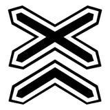 Dois linha não ícone das estradas de ferro da barreira, estilo simples ilustração stock