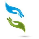 Dois logotipos das mãos, da fisioterapia e da massagem ilustração do vetor