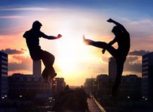 Dois lutadores do capoeira Foto de Stock Royalty Free